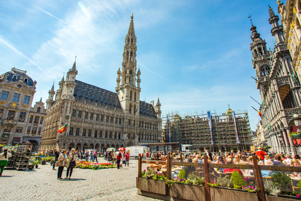 the city square in Brussels on a sunny day