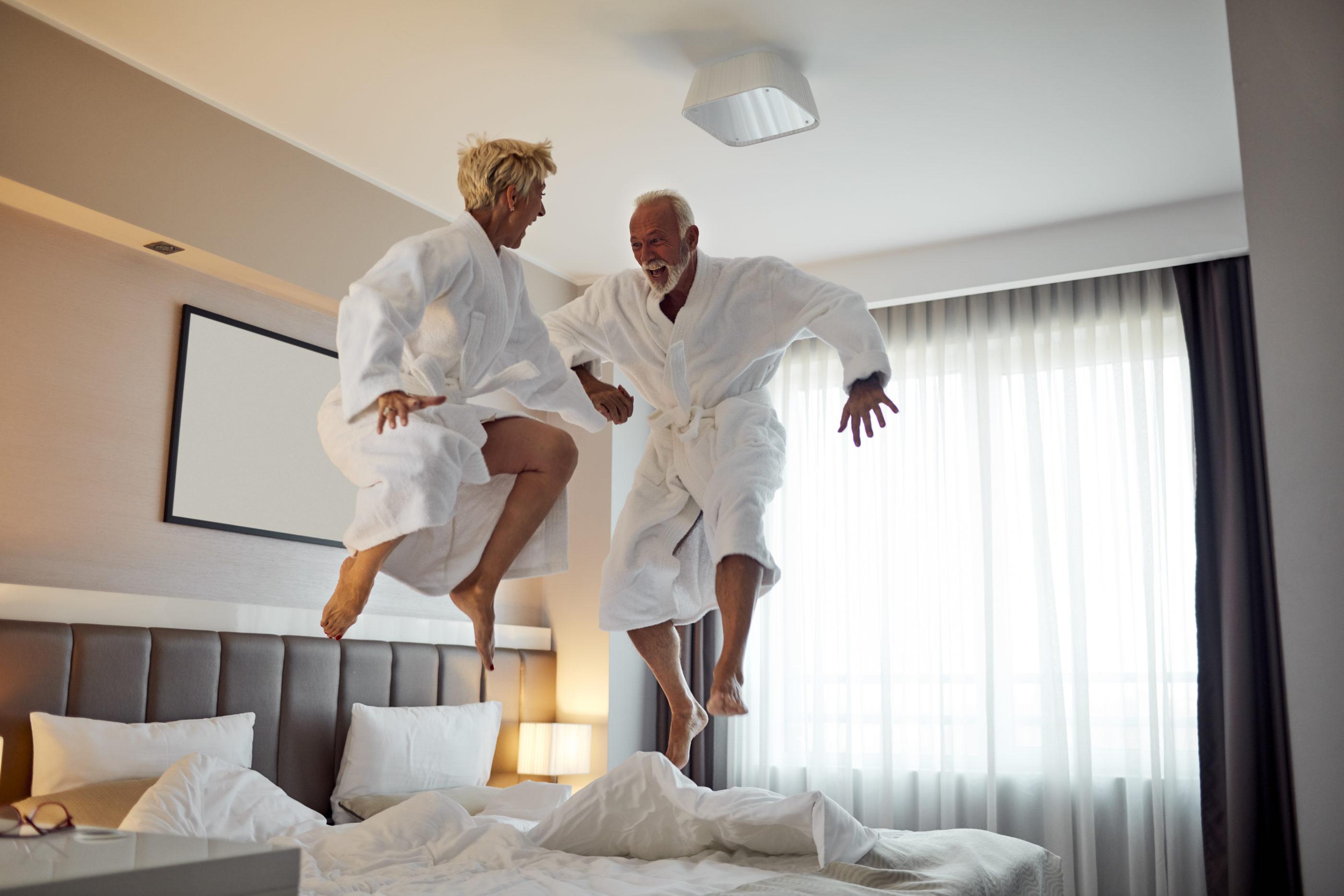 Having enjoyment at the hotel room